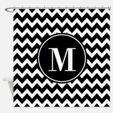 Black and White Chevron with Custom Shower Curtain