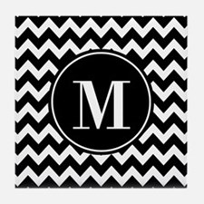 Black and White Chevron with Custom M Tile Coaster
