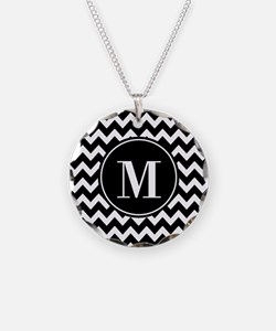 Black and White Chevron with Necklace