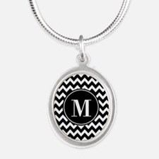 Black and White Chevron with Silver Oval Necklace