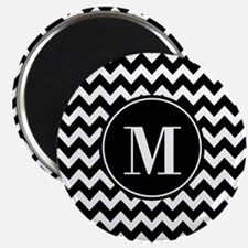 Black and White Chevron with Custom Monogra Magnet