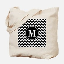 Black and White Chevron with Custom Monog Tote Bag