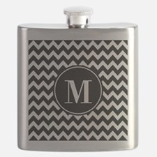 Black and White Chevron with Custom Monogram Flask