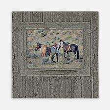 Old window horses 3 Queen Duvet