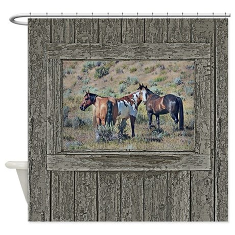 Old window horses 3 shower curtain by saltern for Window horses