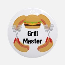 Grill Master Hamburgers Hot Dots Ornament (Round)