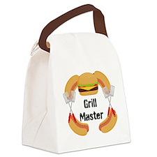 Grill Master Hamburgers Hot Dots Canvas Lunch Bag