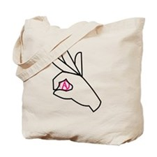 Pink Atheist symbol Tote Bag