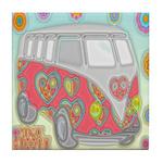 Hippie Van Glass Print Tile Coaster