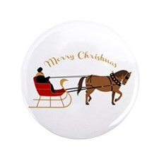 "Christmas Sleigh 3.5"" Button (100 pack)"