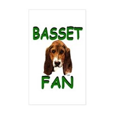 Basset Fan Sticker (Rect.)