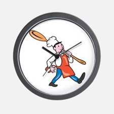 Chef Cook Marching Spoon Cartoon Wall Clock