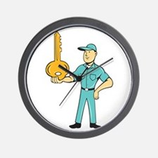 Locksmith Balancing Key Palm Cartoon Wall Clock