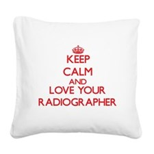 Keep Calm and love your Radio Square Canvas Pillow