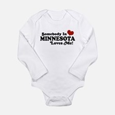 Funny Someone north dakota loves me Long Sleeve Infant Bodysuit