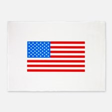American Flag Light Blue 4th of Jul 5'x7'Area Rug