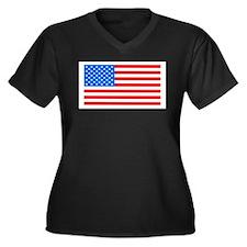 American Flag Light Blue 4th of Plus Size T-Shirt