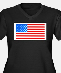 American Flag Light Blue 4th of Plus Size T-Shirt