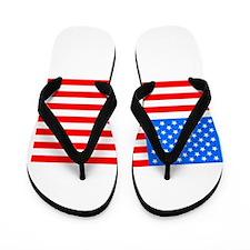 American Flag Light Blue 4th of July Pi Flip Flops