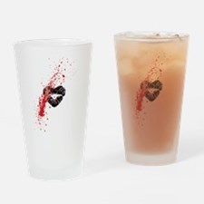 Lipstick grunge Drinking Glass