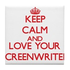 Keep Calm and love your Screenwriter Tile Coaster