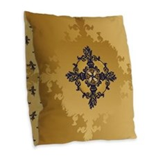 Enchanted Gold Fleur Burlap Throw Pillow