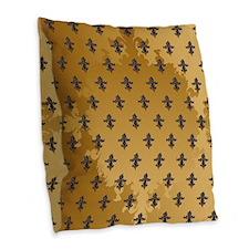 Enchanted Gold Fleur Burlap Throw Pillow