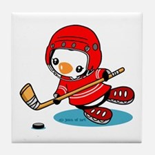 Ice Hockey Penguin (R) Tile Coaster