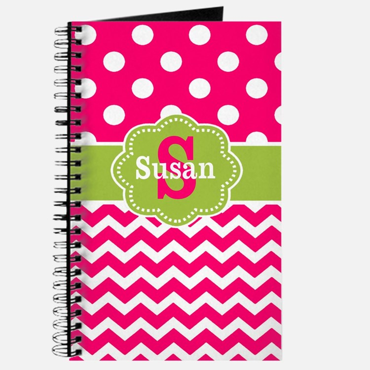 Pink Green Dots Chevron Monogram Journal