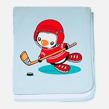 Ice Hockey Penguin (R) baby blanket