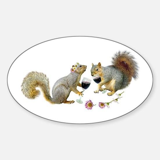 Squirrels Wedding Wine Sticker (Oval)
