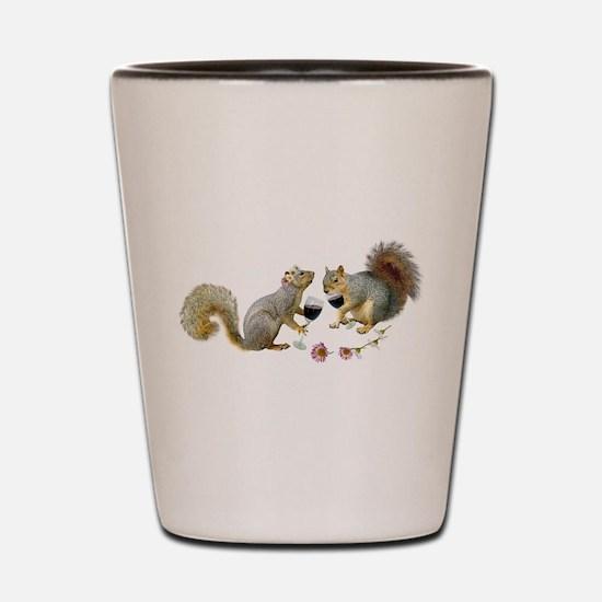Squirrels Wedding Wine Shot Glass
