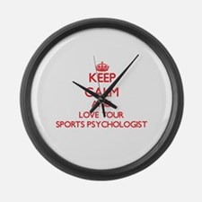 Keep Calm and love your Sports Ps Large Wall Clock