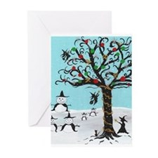 Unique Xmas snowman Greeting Cards (Pk of 10)