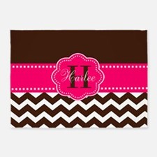 Brown Pink Chevron Personalized 5'x7'Area Rug