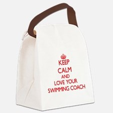 Keep Calm and love your Swimming Canvas Lunch Bag