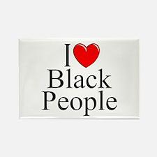 """I Love (Heart) Black People"" Rectangle Magnet"