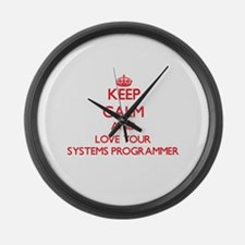 Keep Calm and love your Systems P Large Wall Clock
