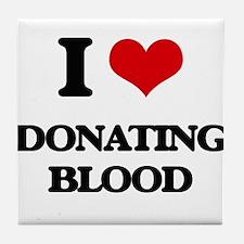 I Love Donating Blood Tile Coaster