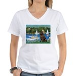 Sailboats & Newfoundland Women's V-Neck T-Shirt