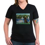 Sailboats & Newfoundland Women's V-Neck Dark T-Shi