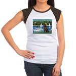 Sailboats & Newfoundland Women's Cap Sleeve T-Shir