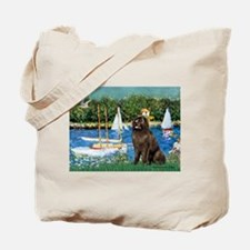 Sailboats & Newfoundland Tote Bag