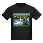 Sailboats & Newfoundland Kids Dark T-Shirt