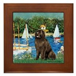 Sailboats & Newfoundland Framed Tile