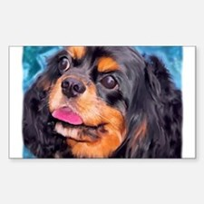 Black & Tan Cavalier King Cha Sticker (Rectangular