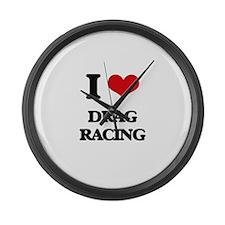 I Love Drag Racing Large Wall Clock