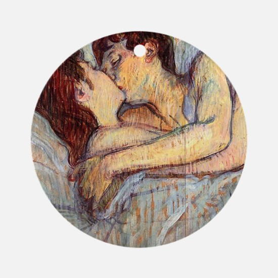 In Bed the Kiss by Toulouse-Lautrec Ornament (Roun