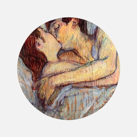 """In Bed the Kiss by Toulouse-Lautrec 3.5"""" Button"""