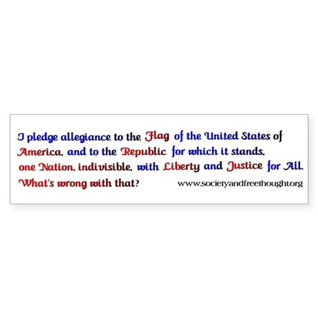 Pledge of Allegiance Bumper Sticker